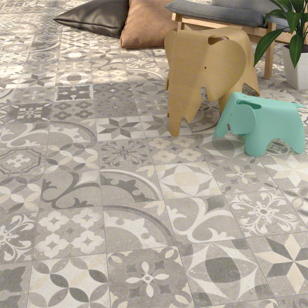 Eurostone NV - Keramische Tegels - Flores Mix Grigio - 20 x 20 x 0,90